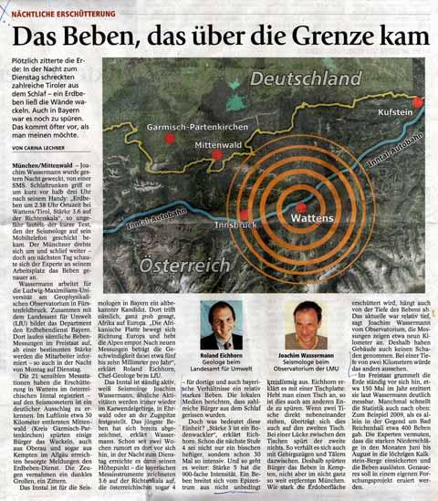 Beben erreicht Bayern mit Mag 3.6